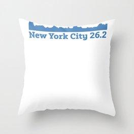 Run New York City Elevation Map 26.2 NYC Throw Pillow