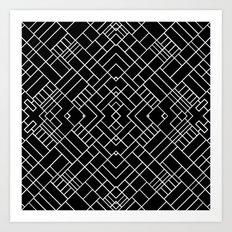 PS Grid 45 Black Art Print