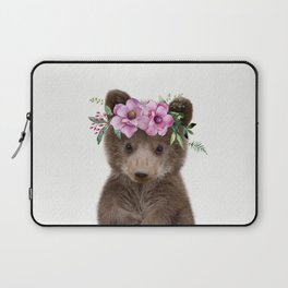 Baby Bear Cub with Flower Crown Laptop Sleeve