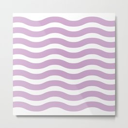 Lavender Abstract Wavy Lines Pattern Metal Print