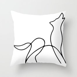 Picasso wolf Art - Minimal wolf Line Drawing Throw Pillow