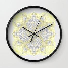 Sunny Doodle Mandala in Yellow & Grey Wall Clock