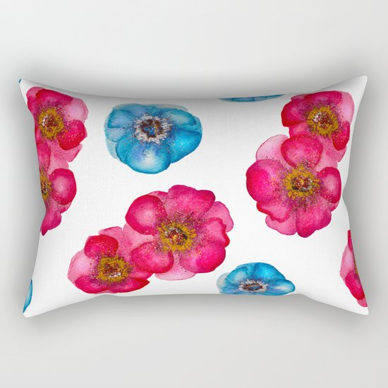 Pink and blue Anemones pattern Rectangular Pillow