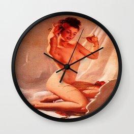 Self Love Pin-up Girl by Gil Elvgren Wall Clock