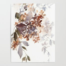 Autumn leaves watercolor art Poster