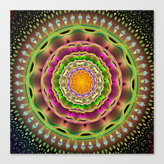 Waves and patterns mandala Canvas Print