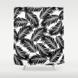 Palm Frond Tropical Décor Leaf Pattern Black on White Shower Curtain
