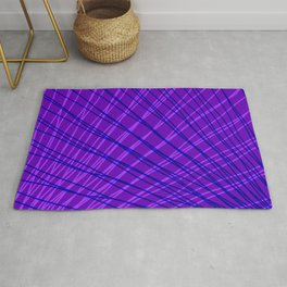 Rays of blue light with mirrored violet waves on mesh. Rug