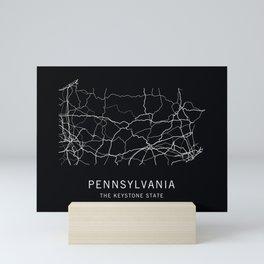 Pennsylvania State Road Map Mini Art Print