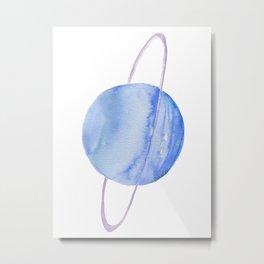 Planet Uranus Watercolor Metal Print