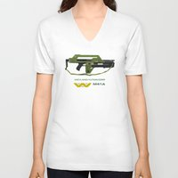aliens V-neck T-shirts featuring Aliens M41A by Justin Cybulski