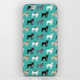 French Bulldog pattern dog breed must have gifts for frenchie owner pillows decor iPhone Skin