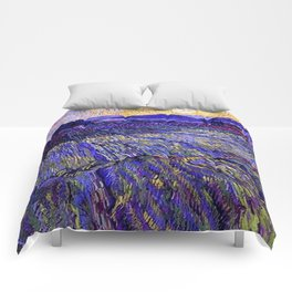 Lavender Fields with Rising Sun by Vincent van Gogh Comforters