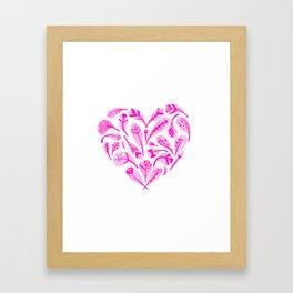Feather Heart (Magenta) Framed Art Print
