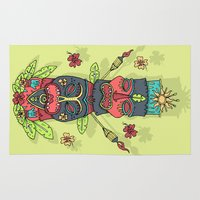 tiki Area & Throw Rugs featuring Tiki totem by Binnyboo