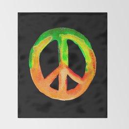 Green Orange Yellow Watercolor Tie Dye Peace Sign Throw Blanket