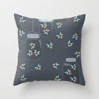fireflies Throw Pillows featuring Fireflies by Badger & Bee