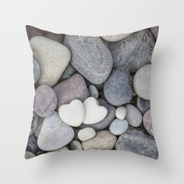 Heart Pebble Stone Mineral Love Symbol Throw Pillow