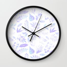 Hand painted pastel lavender violet teal watercolor floral Wall Clock