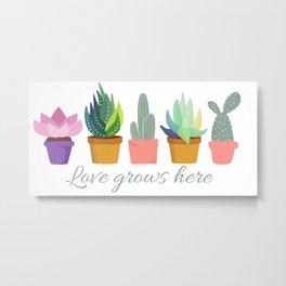Succulents Love grows here Metal Print