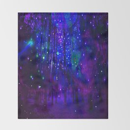 TREES MOON AND SHOOTING STARS Throw Blanket