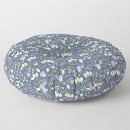 Pansies and crocuses Floor Pillow