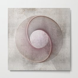Geometrical Line Art Circle Distressed Rosegold Metal Print