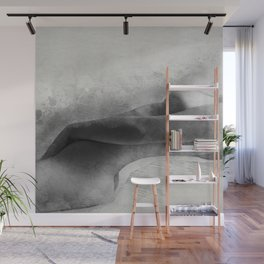 Time for Myself. Nude woman pencil and watercolor portrait Wall Mural