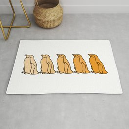 Waddle of Penguins in Gold Tones Rug