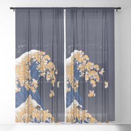 Shiba Inu The Great Wave in Night Sheer Curtain