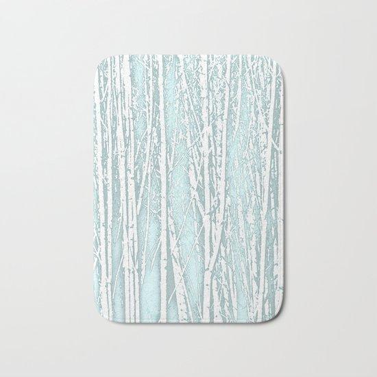 Birch Trees Pattern Pastel Blue Bath Mat