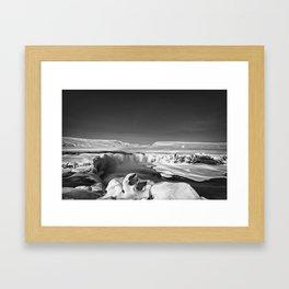 Godafoss in BW Framed Art Print