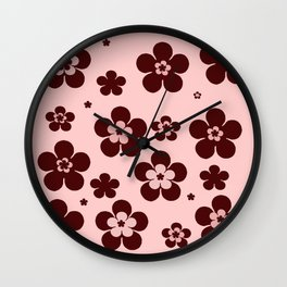 Pink with brown flowers Wall Clock