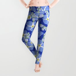 Blue textured flowers pattern Leggings
