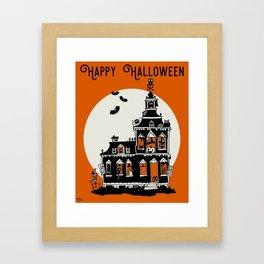 Vintage Style Haunted House - Happy Halloween Framed Art Print