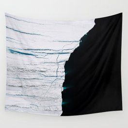 Black and White - Abstract minimal Iceberg aerial view in Greenland - Landscape Photography Wall Tapestry