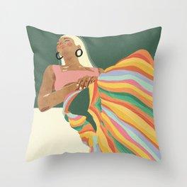 Rainbow Lady Throw Pillow