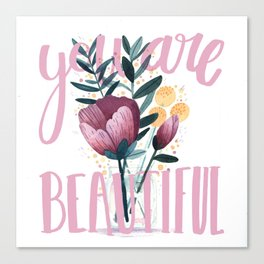 Fresh Cut Flowers 1 - floral and botanical watercolor painting with script lettering Canvas Print