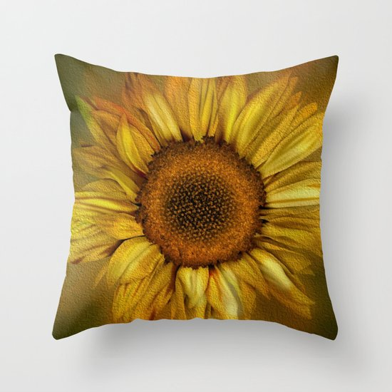 Decorative Pillows With Sunflowers : Sunflower - Vintage Throw Pillow by Judy Palkimas Society6