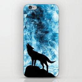 Howling Winter Wolf snowy blue smoke iPhone Skin