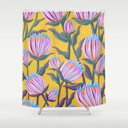 Bold Protea Flower Pattern - Pink Blue Green Purple Yellow Shower Curtain