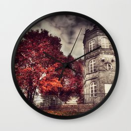 Red Tower of autumn, red trees in a park, old white tower building Wall Clock