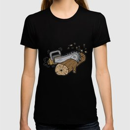CHAINSAW CUTTING WOOD forester warden gift present T-shirt