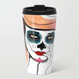 Autumn Sugar Skull Girl Metal Travel Mug