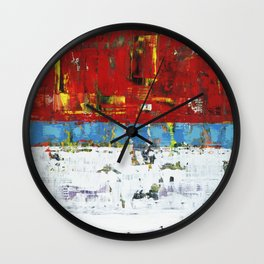 Folly Bright Red White Modern Art Abstract Painting Wall Clock