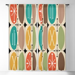 Atomic Era Ovals In Rows Colorful Blackout Curtain