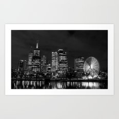 Along The Yarra in Black and White Art Print