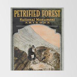 Vintage Petrified Forest National Park Illustrative Poster (1919) Throw Blanket