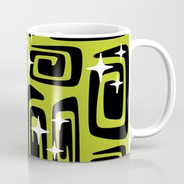 Mid Century Modern Cosmic Galaxies 435 Black and Chartreuse Green Coffee Mug