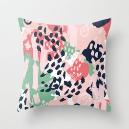 Brooklin - abstract minimal pink coral navy painting home decor abstract charlotte winter art Throw Pillow